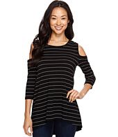 Vince Camuto - 3/4 Sleeve Cold-Shoulder Fine Line Stripe Top