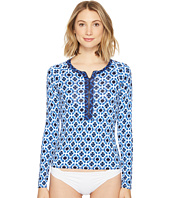 Tommy Bahama - Shibori Splash Long Sleeve 1/2 Zip Rash Guard