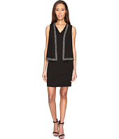 Adrianna Papell - Knit Crepe Cape Dress with Cold Shoulder and Embellishment