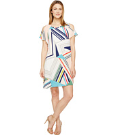 Adrianna Papell - Striped Maze Cold Shoulder Trapeze Dress