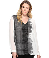 Calvin Klein Plus - Plus Size Printed Long Sleeve Blouse with Pleat
