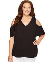 Calvin Klein Plus - Plus Size V-Neck Cold Shoulder Flutter Sleeve Top