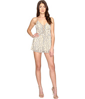 Brigitte Bailey - Luna Child Foil Print Lace-Up Romper