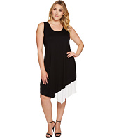 Karen Kane Plus - Plus Size Color Block Asymmetric Hem Tank Dress