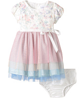 Us Angels - Applique w/ Print Mesh Cap Sleeve w/ Tulle Skirt (Infant)
