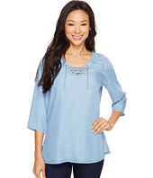 FDJ French Dressing Jeans - Chambray Popover Lace-Up Blouse