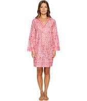 Oscar de la Renta Pink Label - Printed Cotton Lawn V-Neck Haftan