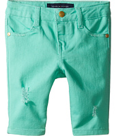 Tommy Hilfiger Kids - Bermuda Length Distressed Denim Shorts in Cabbage (Toddler)