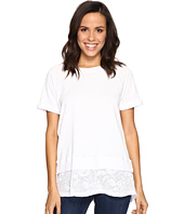 Allen Allen - Short Sleeve Raglan Crew with Lace Hem