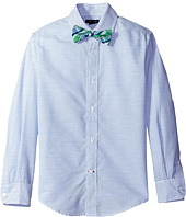 Tommy Hilfiger Kids - Long Sleeve Horizontal Stripe Shirt with Bowtie (Big Kids)