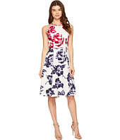 Maggy London - Drapey Linen Sketch Blossom Hi-Lo Fit & Flare Dress