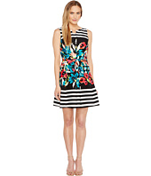 Tahari by ASL - Floral Stripe Fit and Flare Dress