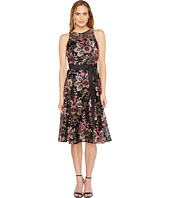 Tahari by ASL - Embroidered Mesh Tea-Length Dress