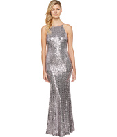 Badgley Mischka - Sequin Cowl Back Halter Gown