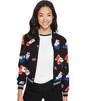 Vince Camuto Specialty Size - Petite Traveling Bloom Zip Front Bomber Jacket