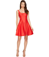 Halston Heritage - Sleeveless Scoop Neck Silk Faille Dress w/ Cut Outs