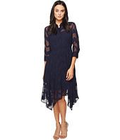Donna Morgan - Chiffon Jacquard Shirtdress with Handkerchief Hem