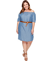 MICHAEL Michael Kors - Plus Size Denim Off Shoulder Sleeveless Dress