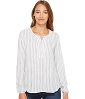Mod-o-doc - Multicolor Rayon Stripe Mandarin Collar Stripe Lace-Up Shirt