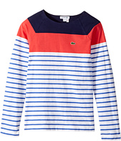 Lacoste Kids - Long Sleeve Stripe Color Block Tee (Toddler/Little Kids/Big Kids)