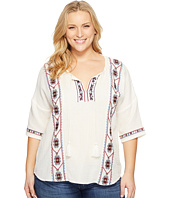 Lucky Brand - Plus Size Embroidered Popover Top