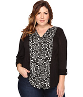 Lucky Brand - Plus Size Printed Woven Mix Henley