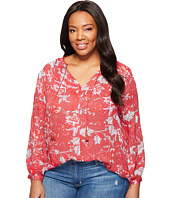 Lucky Brand - Plus Size Floral Fringe Neck Blouse