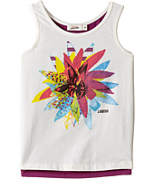Junior Gaultier - White Tank Top with Flower Over A Purple Tank Top (Toddler/Little Kids)