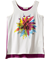 Junior Gaultier - White Tank Top with Flower Over A Purple Tank Top (Big Kids)