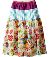 Junior Gaultier - Purple, Blue and White Stripes, Floral Print 3 Tiered Skirt (Big Kids)