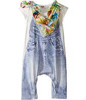 Junior Gaultier - Romper with Image of Denim Overalls and Floral Bandana (Infant)
