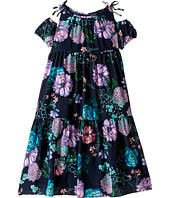 Versace Kids - Floral Print Maxi Dress w/ Shoulder Cut Outs (Big Kids)