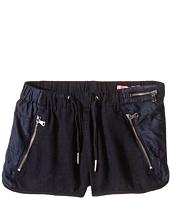 Blank NYC Kids - Drawstring Linen Shorts w/ Zipper Detail in Midnight Hour (Big Kids)