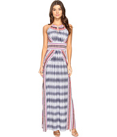 London Times - Ikat Diamond Halter Maxi Dress