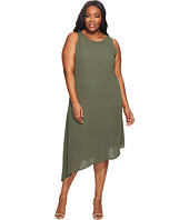 Karen Kane Plus - Plus Size Sheer Asymmetric Hem Dress
