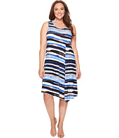 Karen Kane Plus - Plus Size Painted Stripe Side Drape Dress
