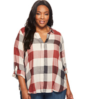 B Collection by Bobeau Curvy - Plus Size Woven Plaid Blouse