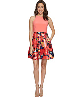 Adrianna Papell - Jersey Halter Mikado Print Cocktail Dress