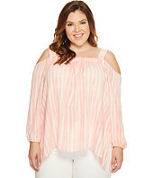 Vince Camuto Specialty Size - Plus Size Long Sleeve Graceful Phrases Cold-Shoulder Drape Blouse