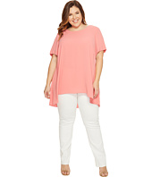 Vince Camuto Specialty Size - Plus Size Short Sleeve High-Low Hem Textured Blouse
