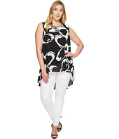 Vince Camuto Specialty Size - Plus Size Sleeveless Cut Out Floral Color Blocked Blouse