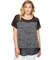 Vince Camuto Specialty Size - Plus Size Short Sleeve Fluttering Notes Mix Media Top