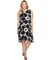 Vince Camuto Specialty Size - Plus Size Sleeveless Cut Out Floral Chiffon Overlay Dress