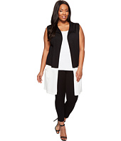 Vince Camuto Specialty Size - Plus Size Sleeveless Open Front Color Block Vest