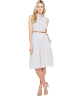 Donna Morgan - Sleeveless Shirtdress with Drop Waist Flare Skirt and Belt