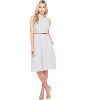 Donna Morgan - Sleeveless Shirtdress with Drop Waist Flare Skirt and Belt