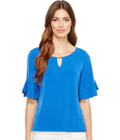 Calvin Klein - Ruffle Sleeve Top with Bar Hardware