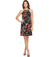Calvin Klein - Printed Halter Dress with Chain Neck