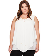 Vince Camuto Specialty Size - Plus Size Sleeveless Handkerchief Lace-Up Texture Blouse