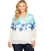 Calvin Klein Plus - Plus Size Printed V-Neck with High-Low Hem